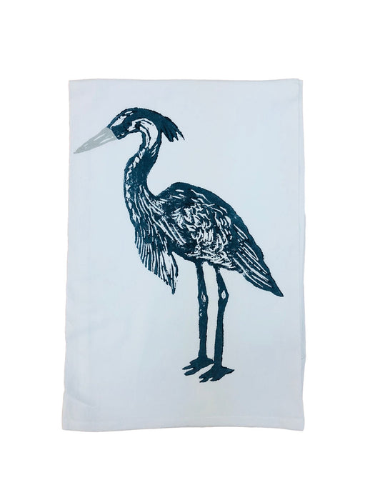 Hand Printed Kitchen Flour Sack Towels Kitchen Towel Low Country Linens Heron in Steel/Grey