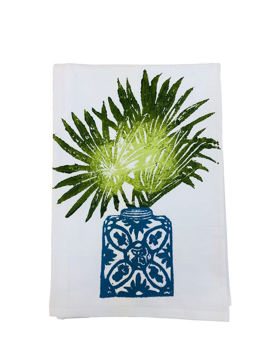 Hand Printed Kitchen Flour Sack Towels Kitchen Towel Low Country Linens Palm Frond in Ginger Jar