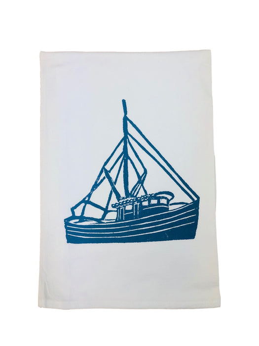 Hand Printed Kitchen Flour Sack Towels Kitchen Towel Low Country Linens Shrimp Boat in Denim