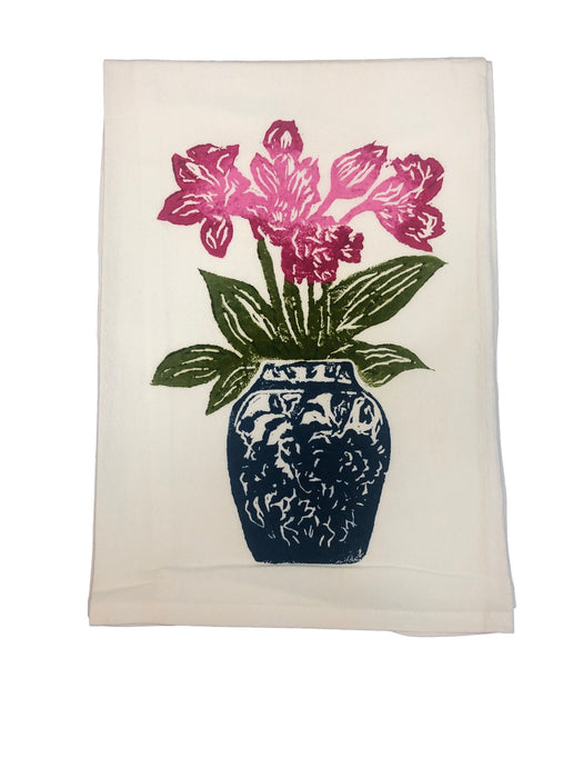 Hand Printed Kitchen Flour Sack Towels Kitchen Towel Low Country Linens Tulips in Denim Jar
