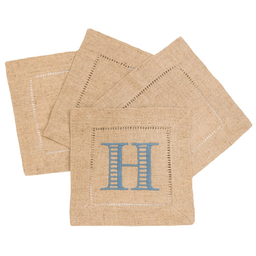 Hemstitch Cocktail Napkins - Set of 4 Cocktail Napkins BubmbleBee Linens Natural
