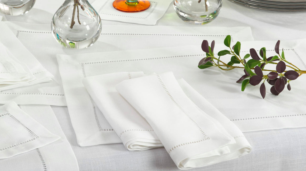 Hemstitch Placemats - NO IRON POLYESTER Placemats Saro White