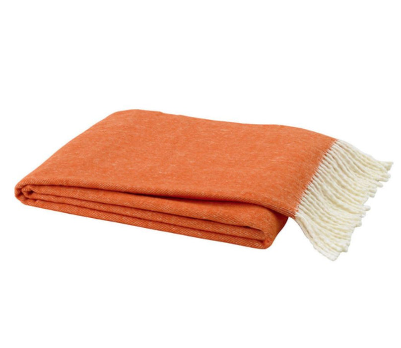 Herringbone Italian Throw Throws Lands Down Under Tangerine