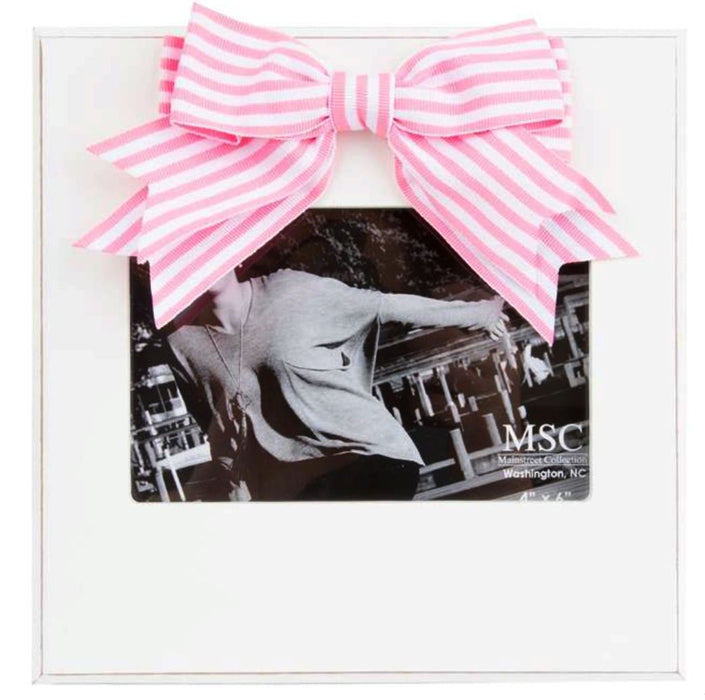 Light Pink Striped Bow Frame Picture Frames MSC