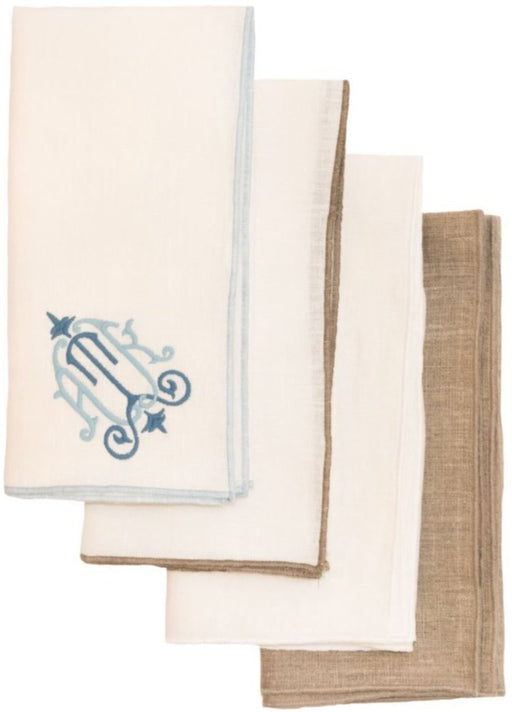 Linen Duet Dinner Napkins - Set of 4 Dinner Napkins Linen Way White with White Trim