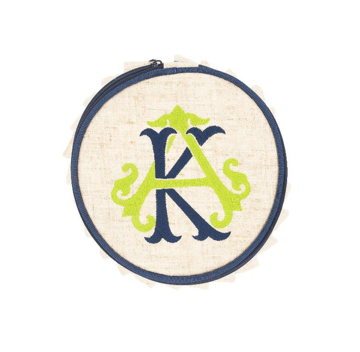 Linen Jewelry Round Jewelry Cases MSC Navy