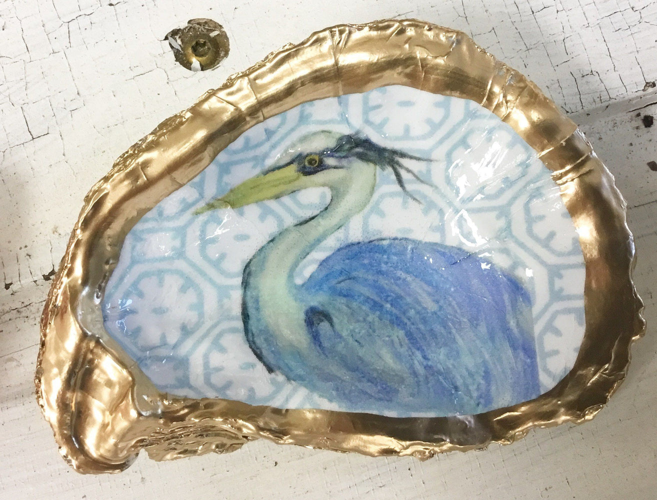 Low Country Oyster Shell Ring Dish Oyster Dish Low Country Linens Blue Heron