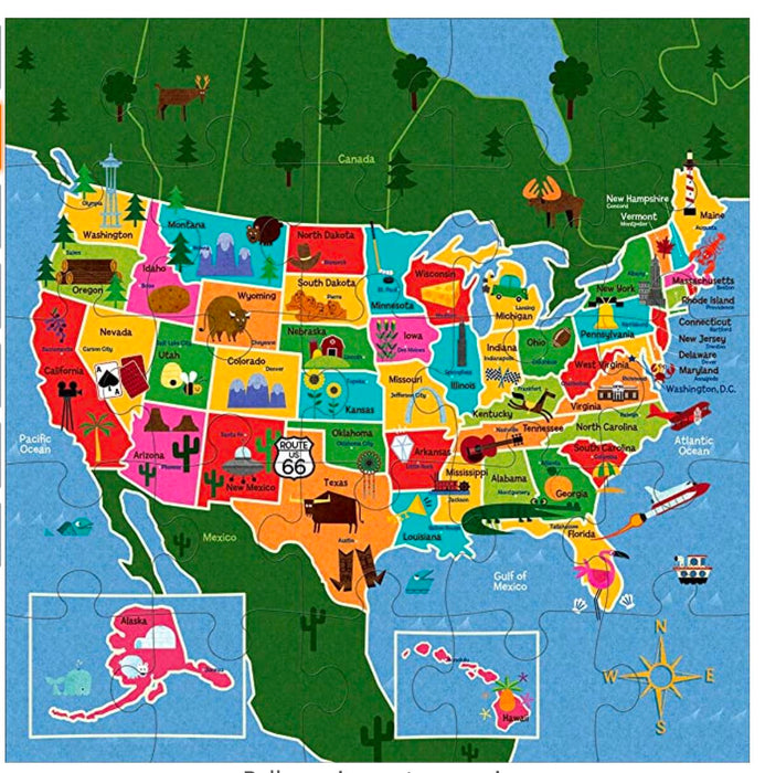Map of USA Jumbo Puzzle Activity Toys Hachette Book Group