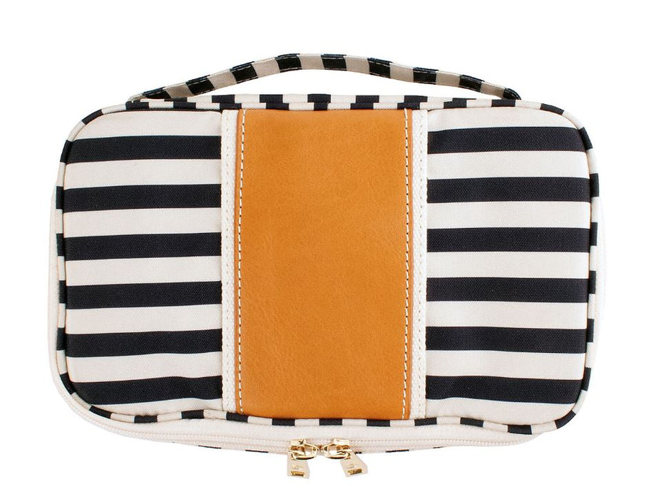 Megan Makeup Case Leather Bags and Totes Boulevard Striped