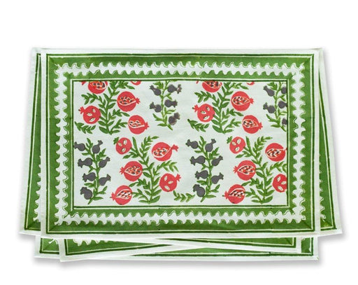 Melograno Vine Fern & Poppy Placemats - Set of 4 Placemat Pomegranate