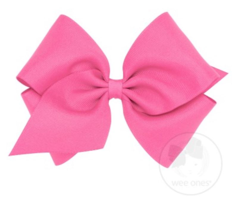 Mini King Hair Bow Hair Bows WeeOnes Hot Pink