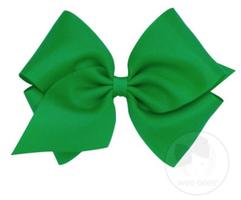 Mini King Hair Bow Hair Bows WeeOnes Kelly Green