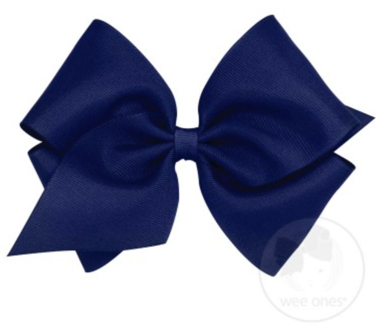 Mini King Hair Bow Hair Bows WeeOnes Light Navy