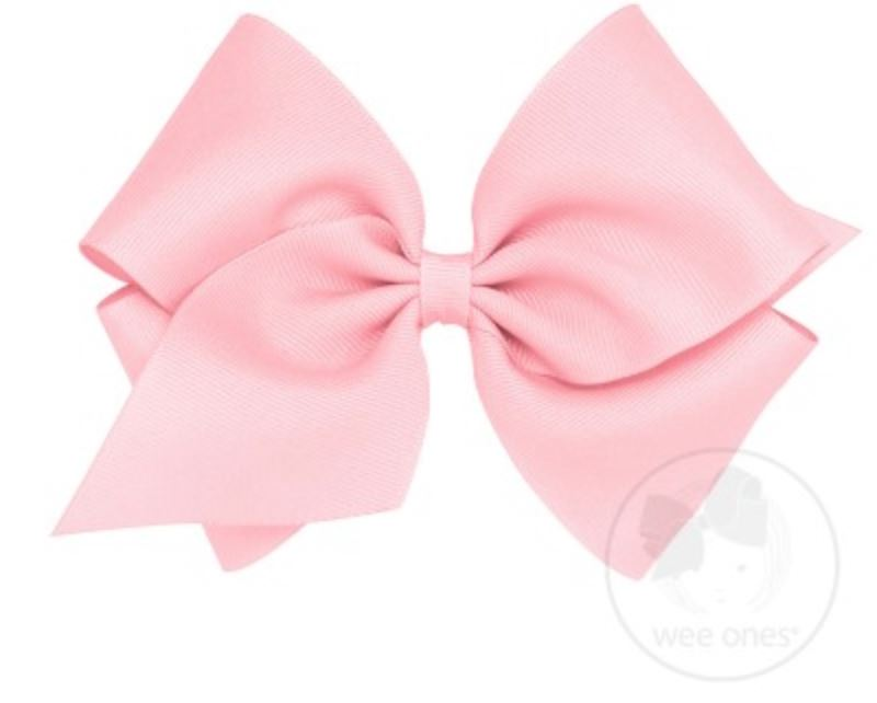 Mini King Hair Bow Hair Bows WeeOnes Light Pink
