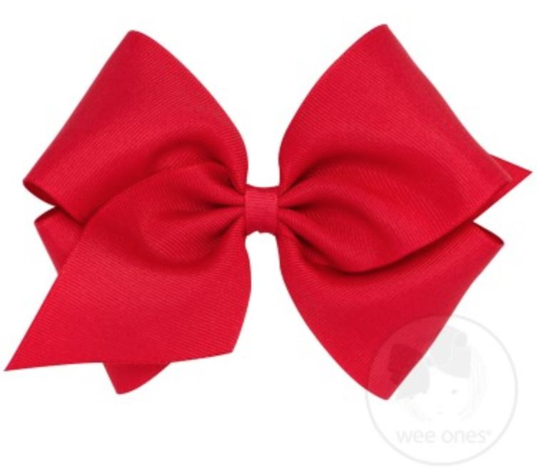 Mini King Hair Bow Hair Bows WeeOnes Red