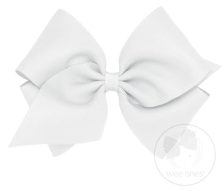 Mini King Hair Bow Hair Bows WeeOnes White