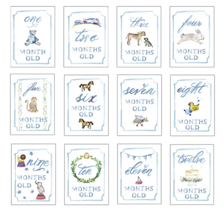 Month by Month Baby Boy Cards Stationery Over The Moon