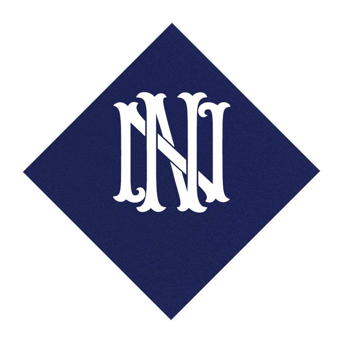 Navy Cocktail Napkins- Single Initial Paper Napkins Print Appeal N