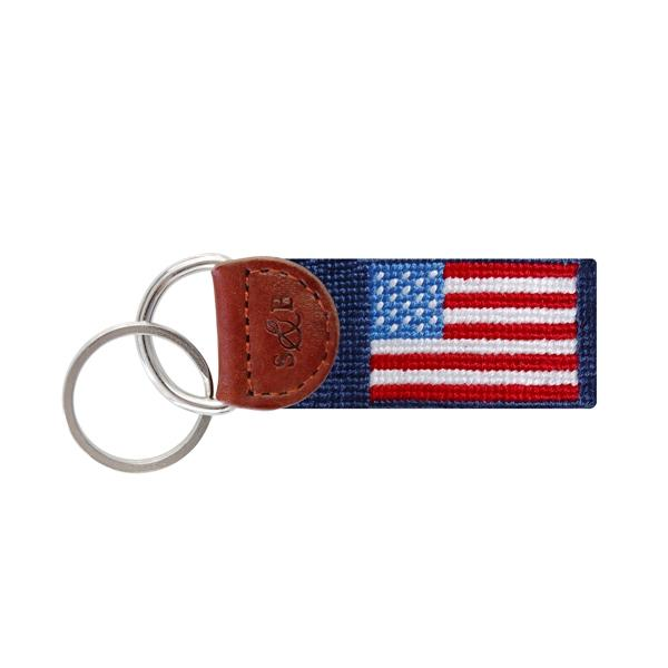 Needle Point Key Fob Key Fobs Smathers and Branson American Flag