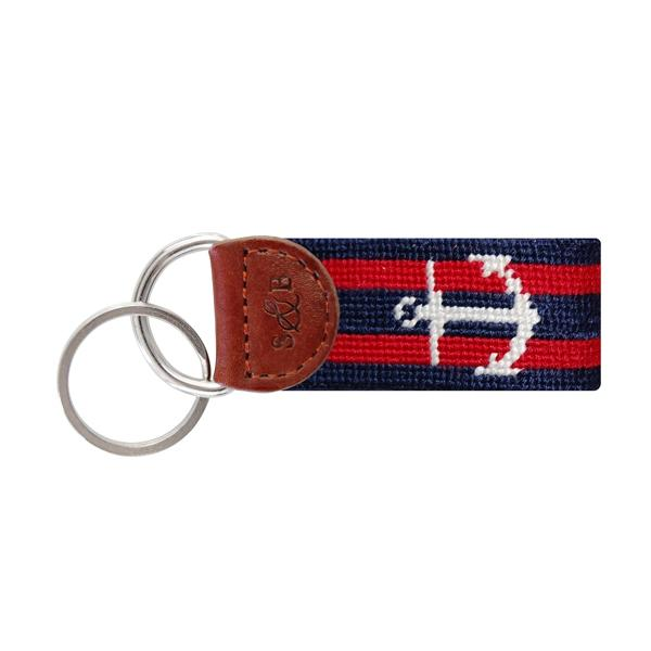 Needle Point Key Fob Key Fobs Smathers and Branson Anchor (Navy/Red)