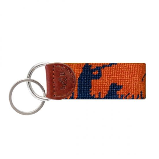 Needle Point Key Fob Key Fobs Smathers and Branson Orange/Blue Hunting