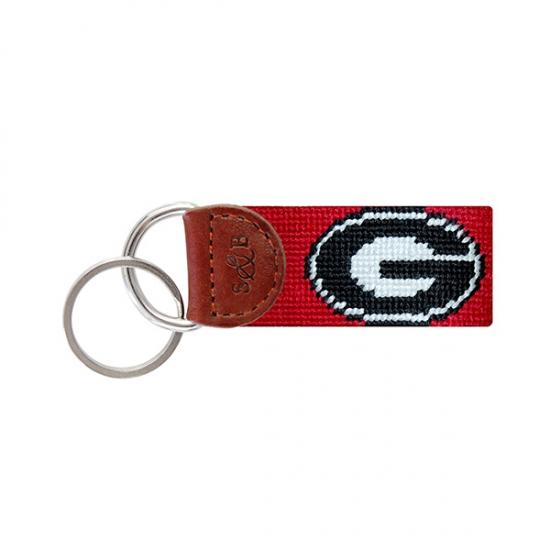 Needle Point Key Fob Key Fobs Smathers and Branson Red Georgia