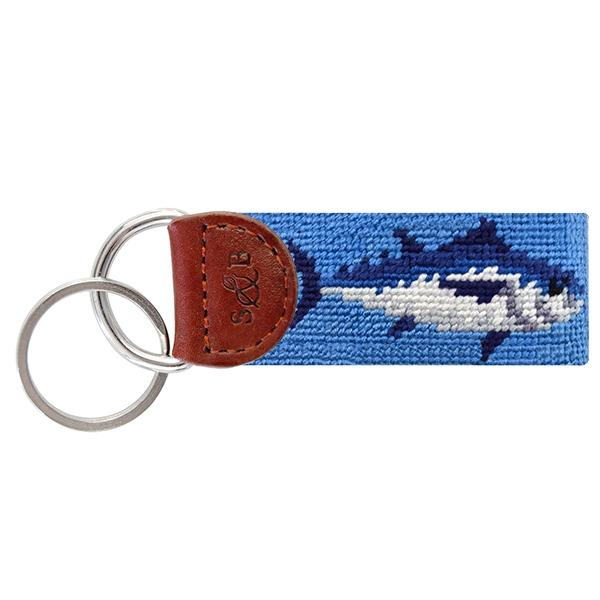 Needle Point Key Fob Key Fobs Smathers and Branson Tuna (Blue)