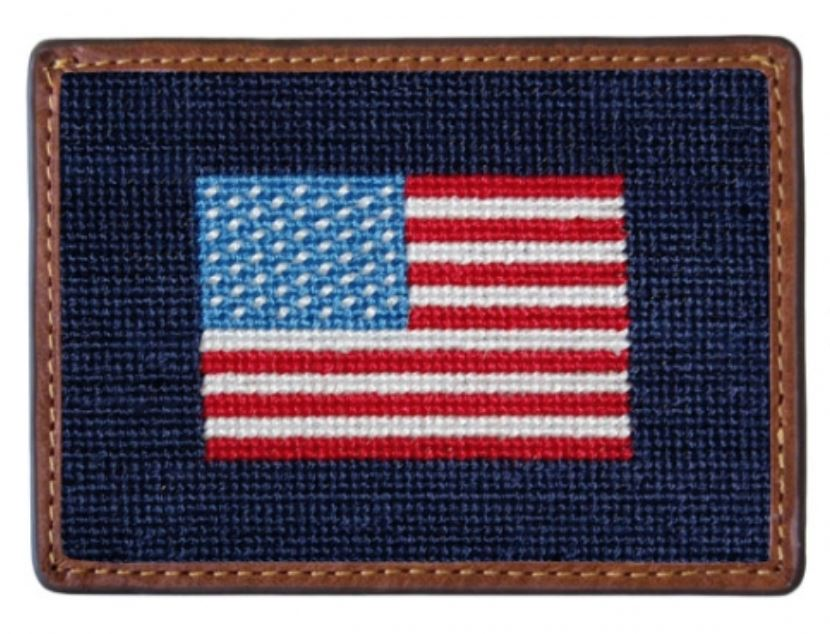 Needlepoint Credit Card Wallet Wallets Smathers and Branson American Flag