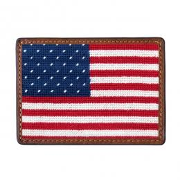 Needlepoint Credit Card Wallet Wallets Smathers and Branson Big American Flag