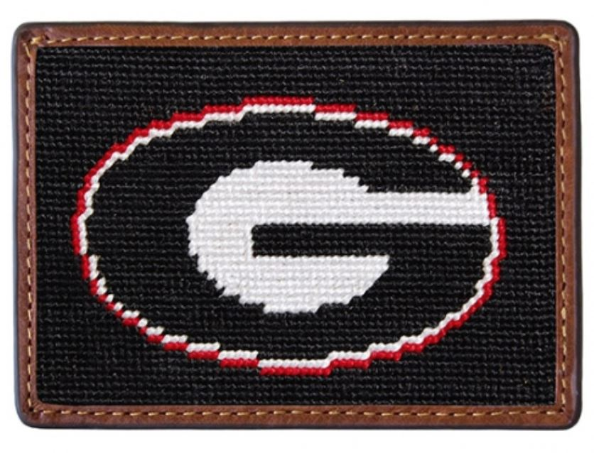 Needlepoint Credit Card Wallet Wallets Smathers and Branson Georgia - Black
