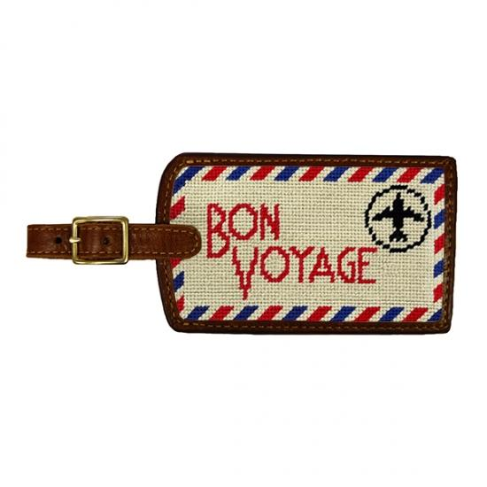 Needlepoint Luggage Tag Luggage Tags Smathers and Branson Bon Voyage