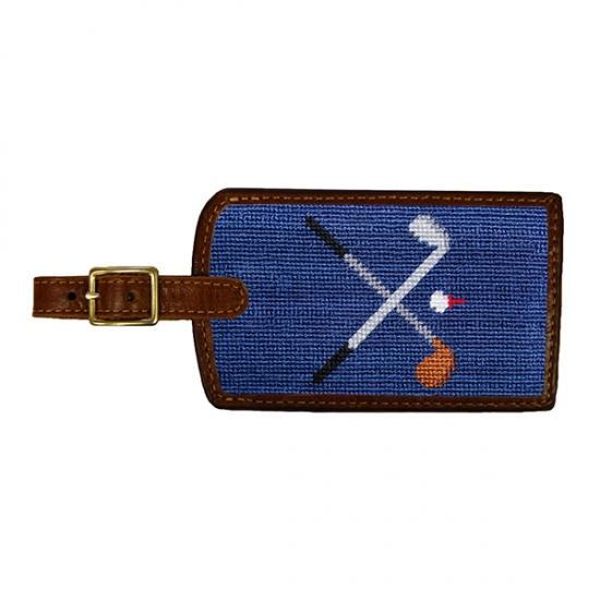 Needlepoint Luggage Tag Luggage Tags Smathers and Branson Crossed Golf Clubs