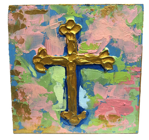 Painted Cross Block Home Decor Trade Cie Blue