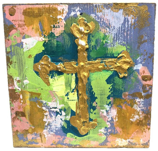 Painted Cross Block Home Decor Trade Cie Coral