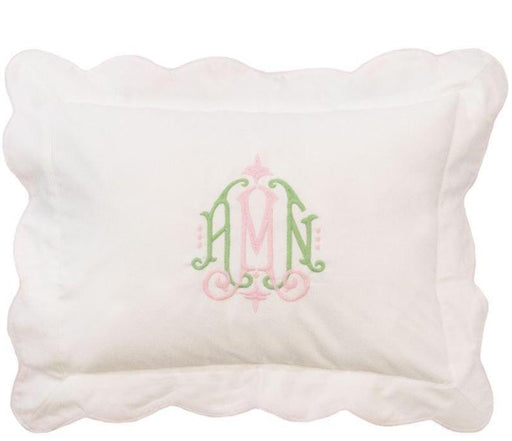 Piped Scalloped Trim Baby Pillow Pillows Duc Star Pink Trim