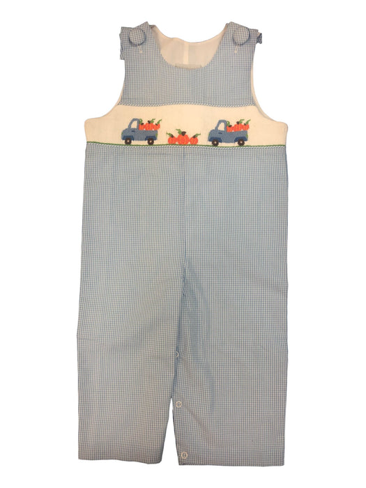 Pumpkin Patch and Truck Smocked Blue Longalls Longalls Delaney
