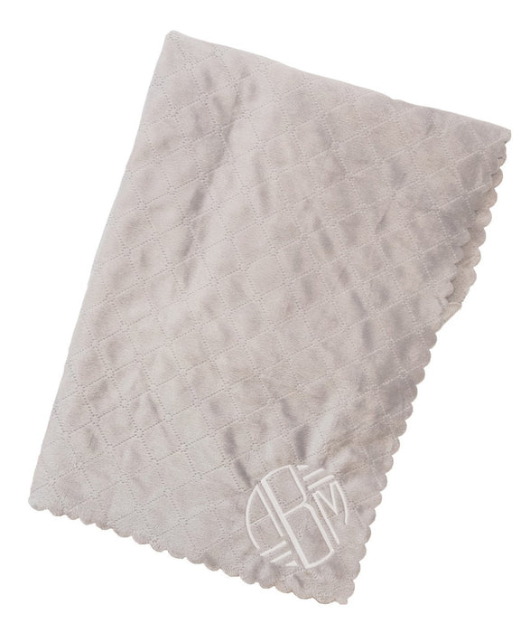 Quilted Plush Scalloped Edge Baby Blanket Blankets A Soft Idea Grey
