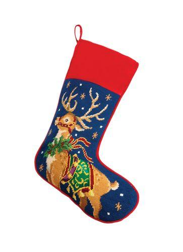 Reindeer Needlepoint Stocking Christmas Stocking Peking Handicraft
