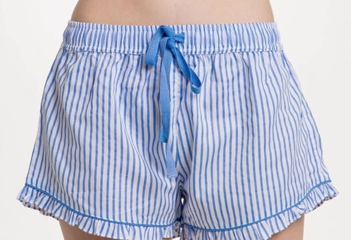 Ruffled Sleep Shorts Pajamas Bella il Fiore Blue Stripe - SM