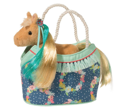 Sassy Pet Purse Plush Toy Douglas Horse with Love Flowers