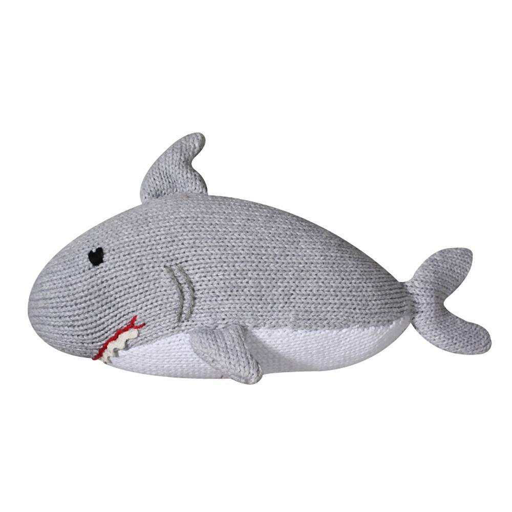Sebastian the Shark Knit Rattle Stuffed Animal Zubels