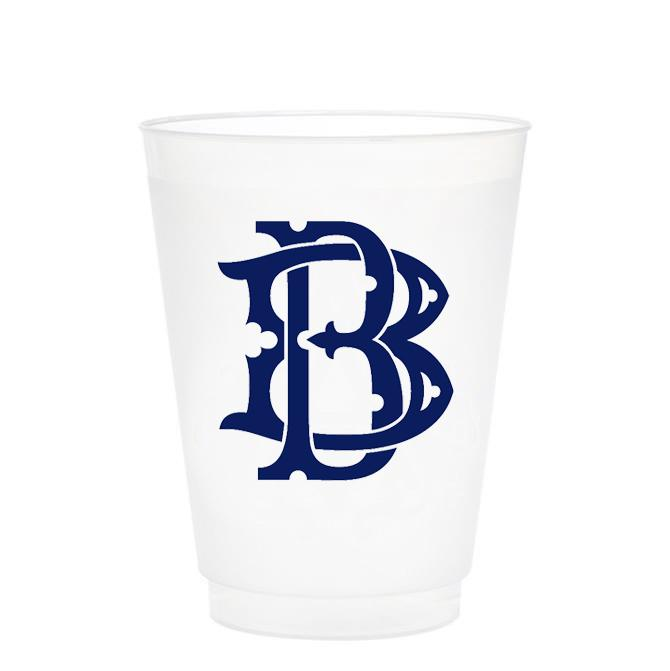 Single Initial Frosted Cups in NAVY Shatterproof Cups Print Appeal B