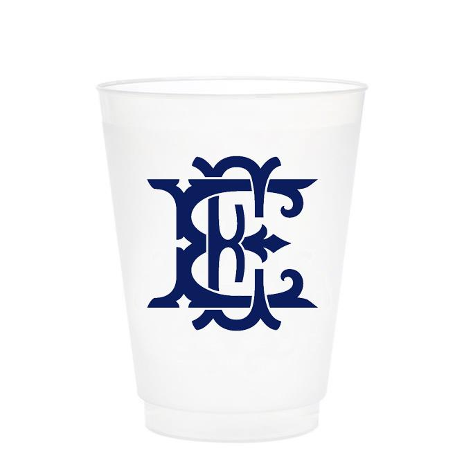 Single Initial Frosted Cups in NAVY Shatterproof Cups Print Appeal E