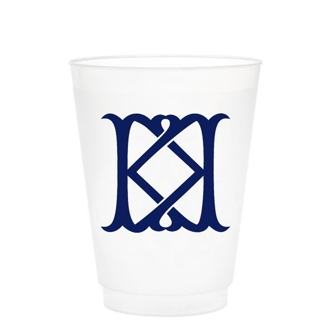Single Initial Frosted Cups in NAVY Shatterproof Cups Print Appeal K