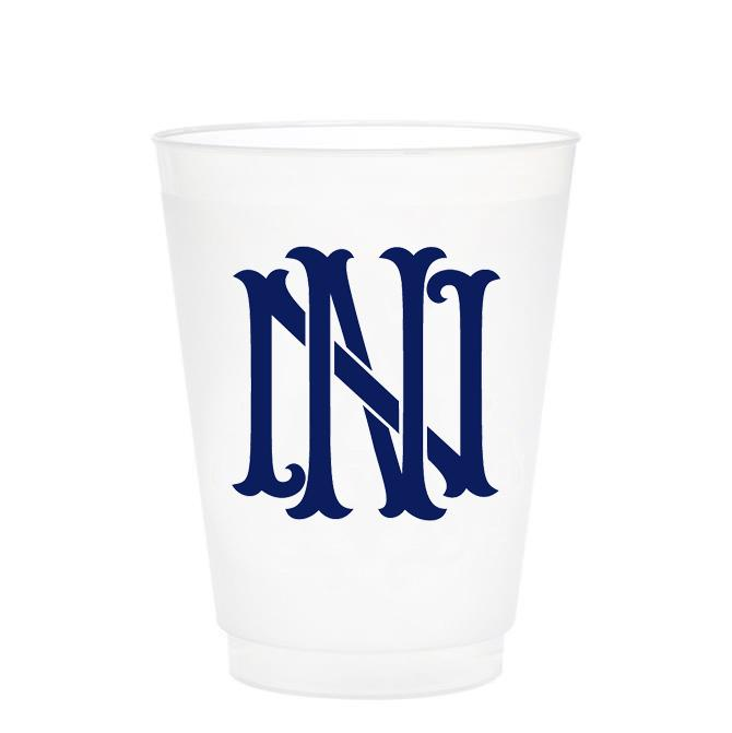 Single Initial Frosted Cups in NAVY Shatterproof Cups Print Appeal N