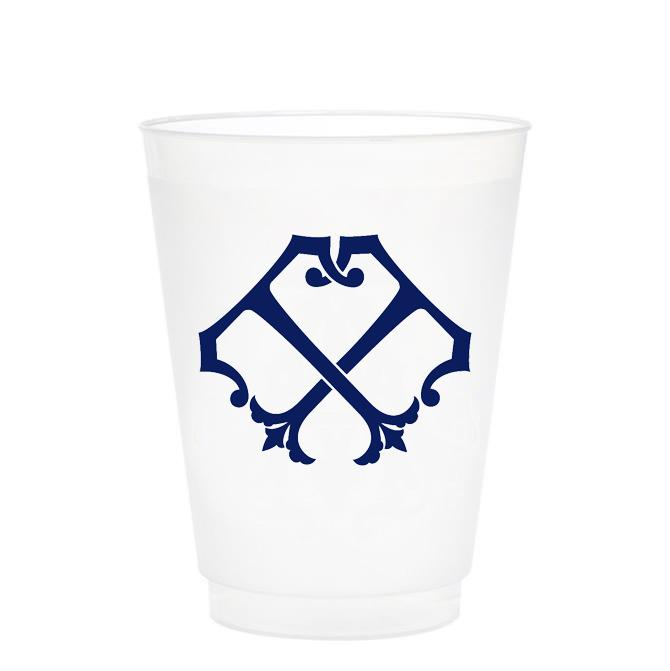 Single Initial Frosted Cups in NAVY Shatterproof Cups Print Appeal T