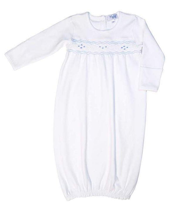 Smocked Baby Gown Gowns Nella Pima Blue 0-3m