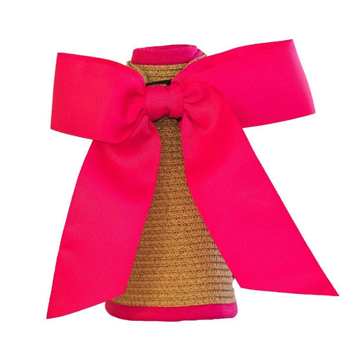 Straw Visor with Ribbon Closure Visors MSC Hot Pink