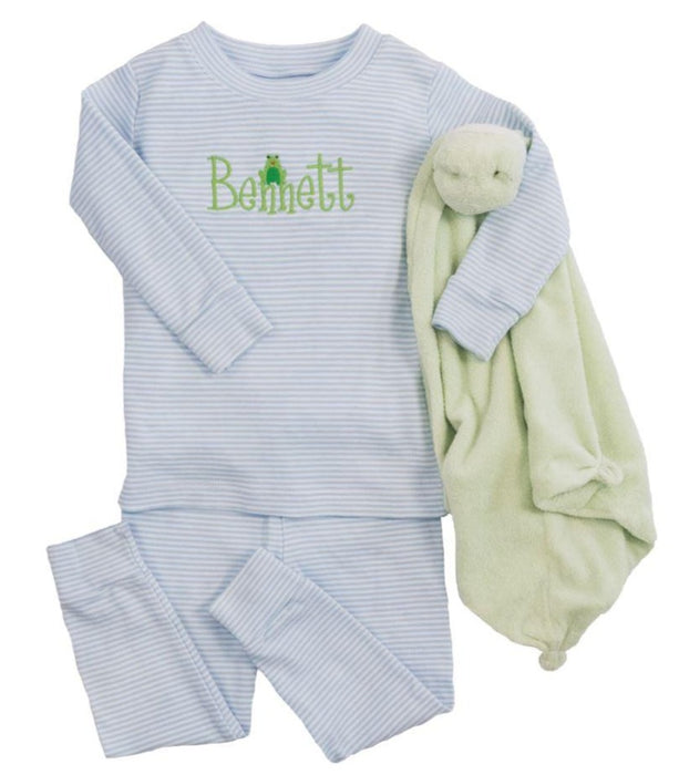 Striped Pajamas Pants Set Pajamas Kissy Kissy Blue 18-24m