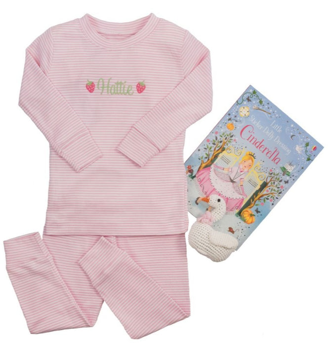 Striped Pajamas Pants Set Pajamas Kissy Kissy Pink 18-24m